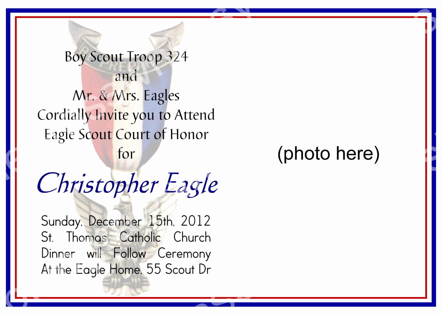 Eagle Scout Invitation Wording Fresh Eagle Scout Court Of Honor Invitation Customizable Photo
