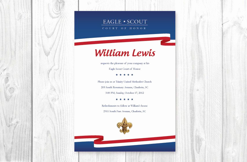 Eagle Scout Invitation Wording Fresh Eagle Scout Court Of Honor Invitations Card Red White