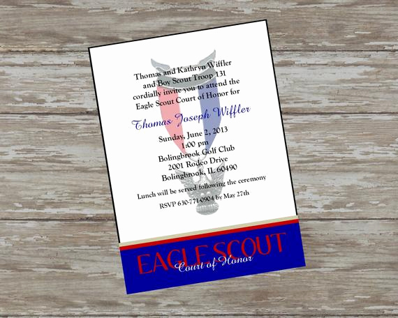 Eagle Scout Invitation Wording New Eagle Scout Court Of Honor by Itsallaboutthecards On Etsy