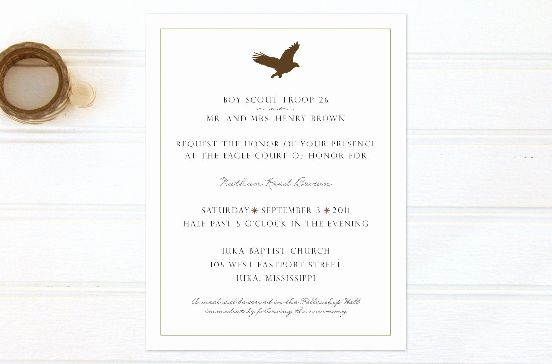 Eagle Scout Invitation Wording New Items Similar to Eagle Scout Court Of Honor Invitations
