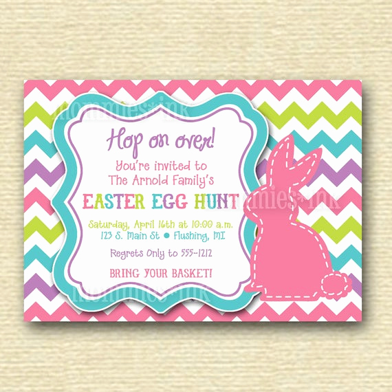 Easter Egg Hunt Invitation Awesome Items Similar to Chevron Stitched Bunny Rabbit Easter Egg