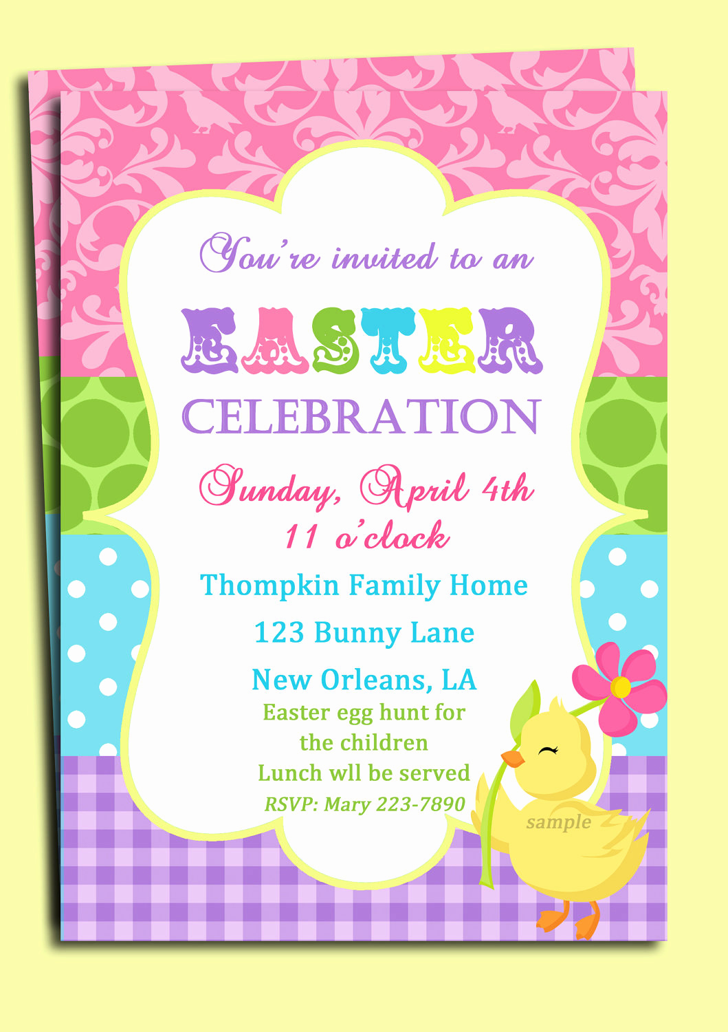 Easter Egg Hunt Invitation Elegant Easter Invitation Printable or Printed with Free Shipping