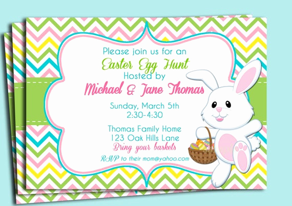 Easter Egg Hunt Invitation Unique Easter Chevron Invitation Printable or Printed with Free