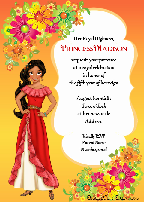 Elena Of Avalor Invitation Template Awesome Elena Of Avalor Birthday Party Invitation