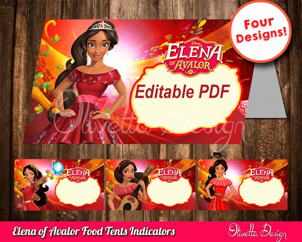 Elena Of Avalor Invitation Template Awesome Elena Of Avalor Editable Food Tents Birthday Decoration