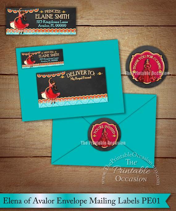 Elena Of Avalor Invitation Template Fresh Elena Of Avalor Address Labels and Envelope Seal Princess