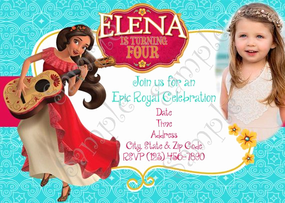 Elena Of Avalor Invitation Template Fresh Elena Of Avalor Invitation Elena Of Avalor Birthday Party
