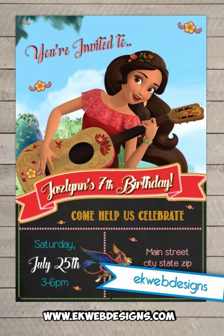 Elena Of Avalor Invitation Template New Custom Birthday Invitation Featurning Disney S Elena Of