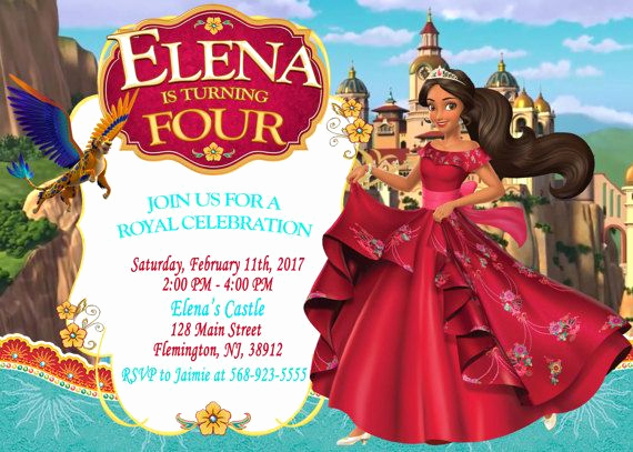 Elena Of Avalor Invitation Template Unique Elena Of Avalor Invitation Birthday Party