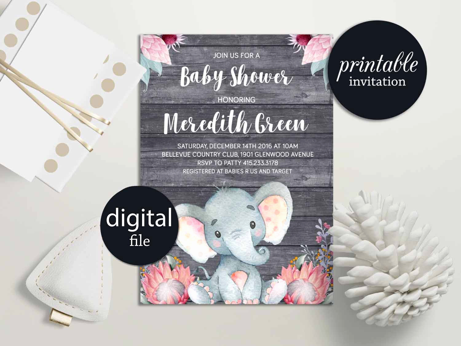 Elephant Baby Shower Invitation Awesome Elephant Baby Shower Invitation Girl Safari Baby Shower