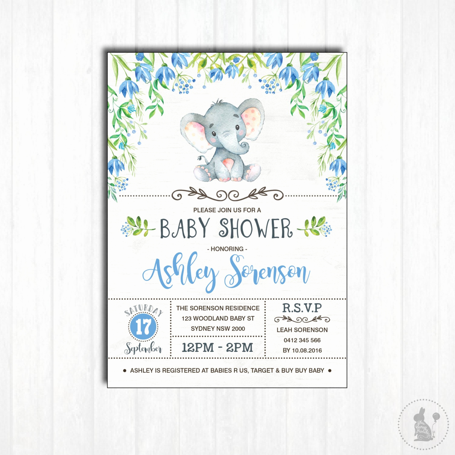 Elephant Baby Shower Invitation Awesome Elephant Baby Shower Invitation Printable Baby Boy Woodland