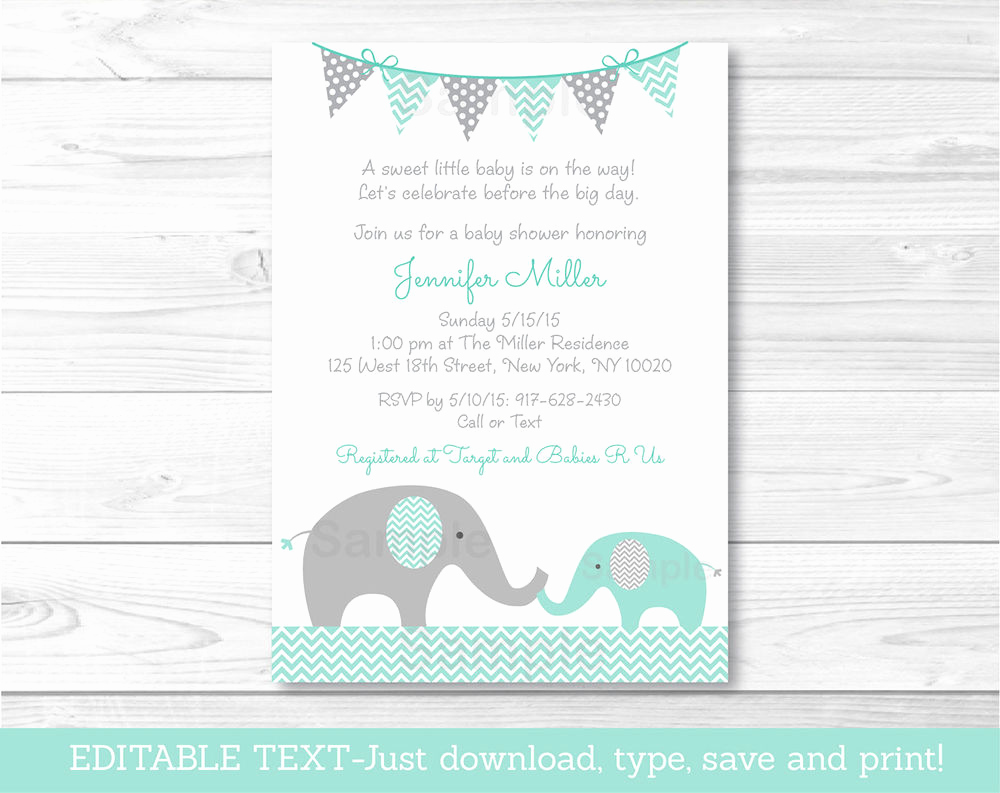 Elephant Baby Shower Invitation Awesome Mint Green & Grey Chevron Elephant Printable Baby Shower