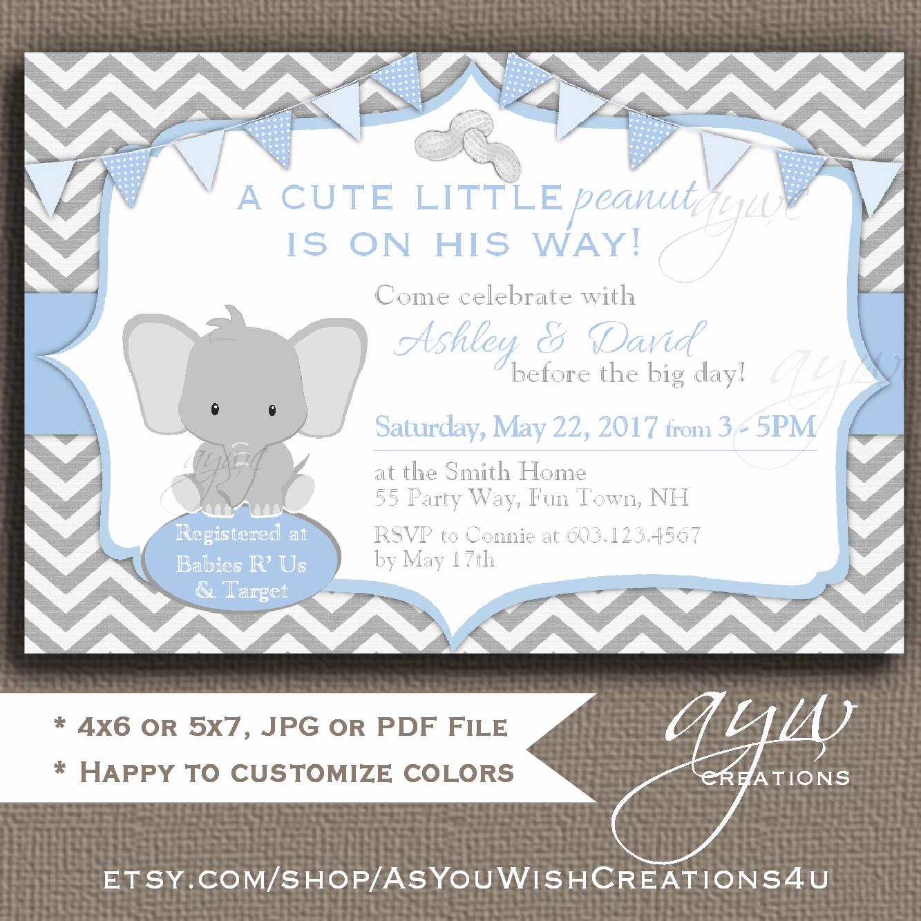 Elephant Baby Shower Invitation Best Of Elephant Baby Shower Invitation Little Peanut Baby Shower
