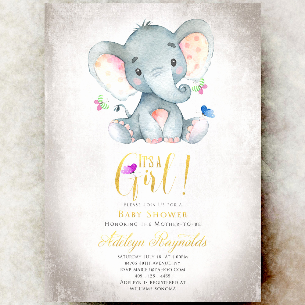 Elephant Baby Shower Invitation Elegant Elephant Baby Shower Invitation Girl Printable Baby Shower