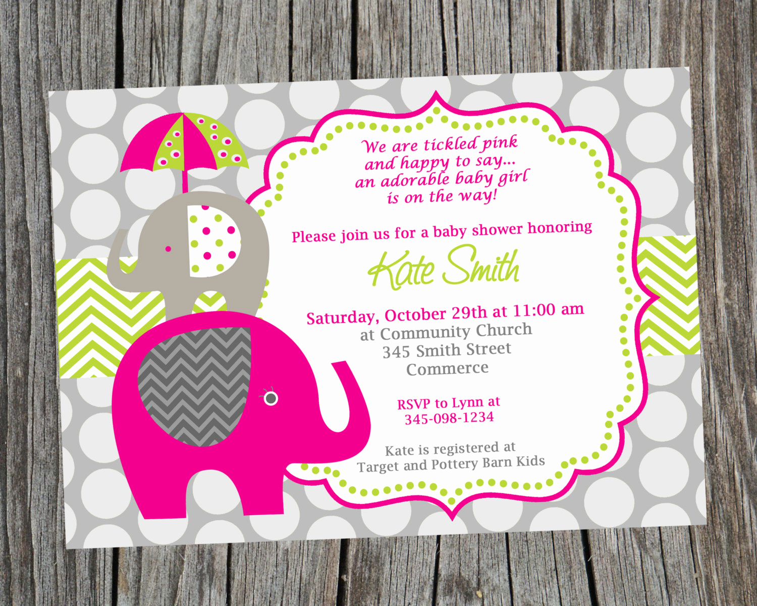 hot pink and green elephant baby shower