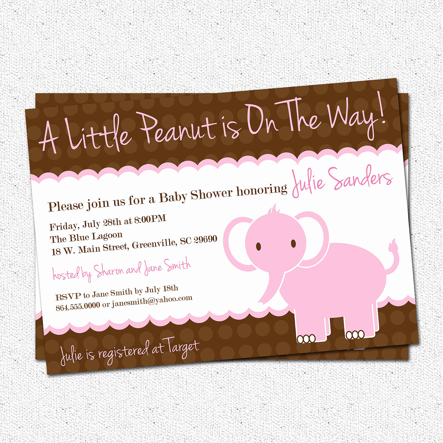 Elephant Baby Shower Invitation Fresh Baby Shower Invitation Girl Elephant Little Peanut Pink