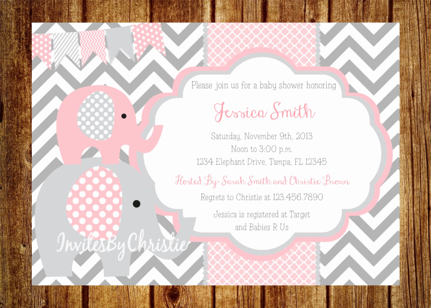 Elephant Baby Shower Invitation Fresh Pink and Gray Elephant Baby Shower Invitation Digital File