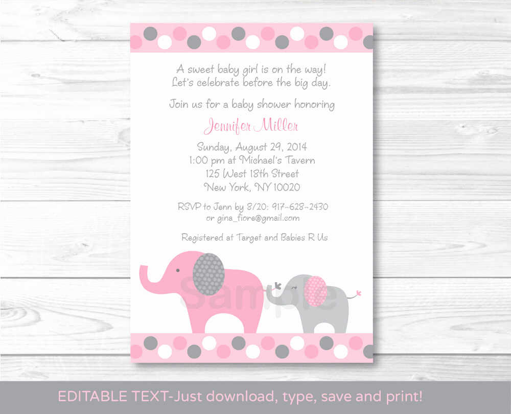Elephant Baby Shower Invitation Fresh Pink and Gray Polka Dot Elephant Printable Baby Shower
