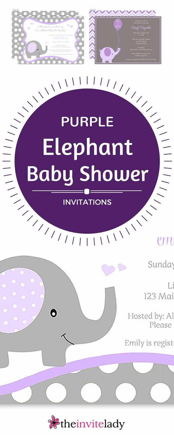 Elephant Baby Shower Invitation Fresh Purple and Grey Baby Shower Elephant Invitations for