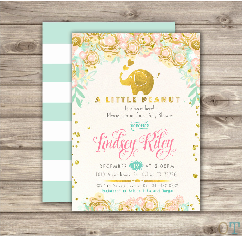 Elephant Baby Shower Invitation Inspirational Elephant Baby Shower Invitation Boy A Little Peanut Elephant