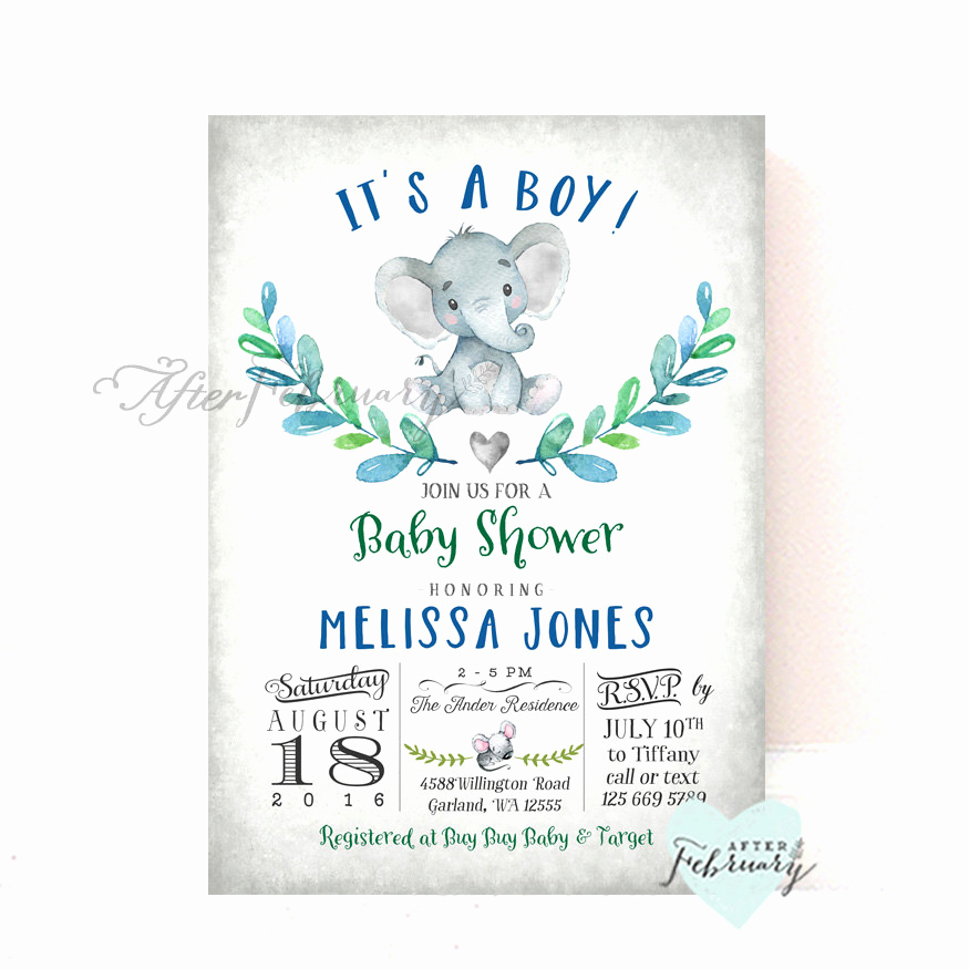 Elephant Baby Shower Invitation Inspirational Elephant Baby Shower Invitation Boy Baby Shower Invitation