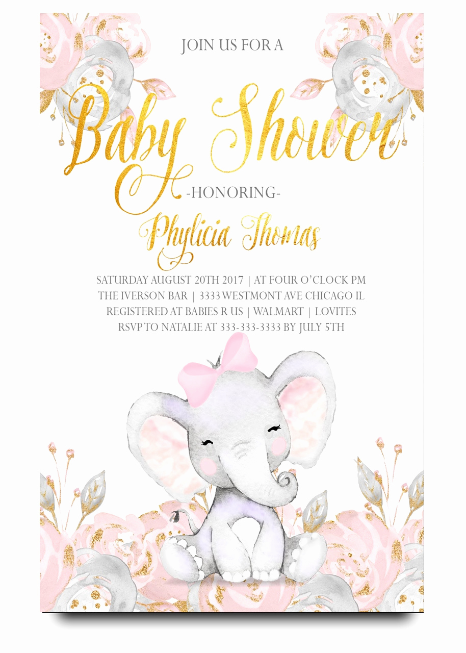 Elephant Baby Shower Invitation Luxury Pink Elephant Baby Shower Invitation Pink Elephant