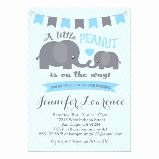 Elephant Baby Shower Invitation New Blue Boy Peanut Elephant Baby Shower Invitation