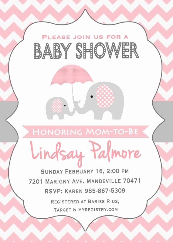 Elephant Baby Shower Invitation Templates Awesome Pink Elephant Baby Shower Invitation Potlač