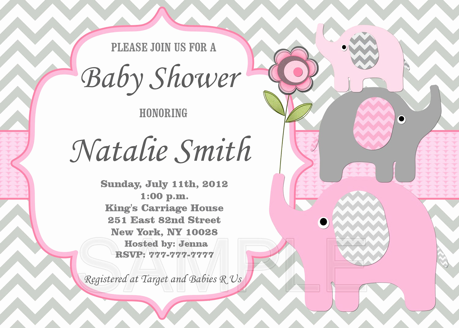 Elephant Baby Shower Invitation Templates Beautiful Girl Baby Shower Invitation Elephant Baby Shower by Diymyparty