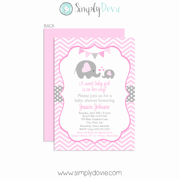 Elephant Baby Shower Invitation Templates Best Of Elephant Baby Shower Invitation Girl