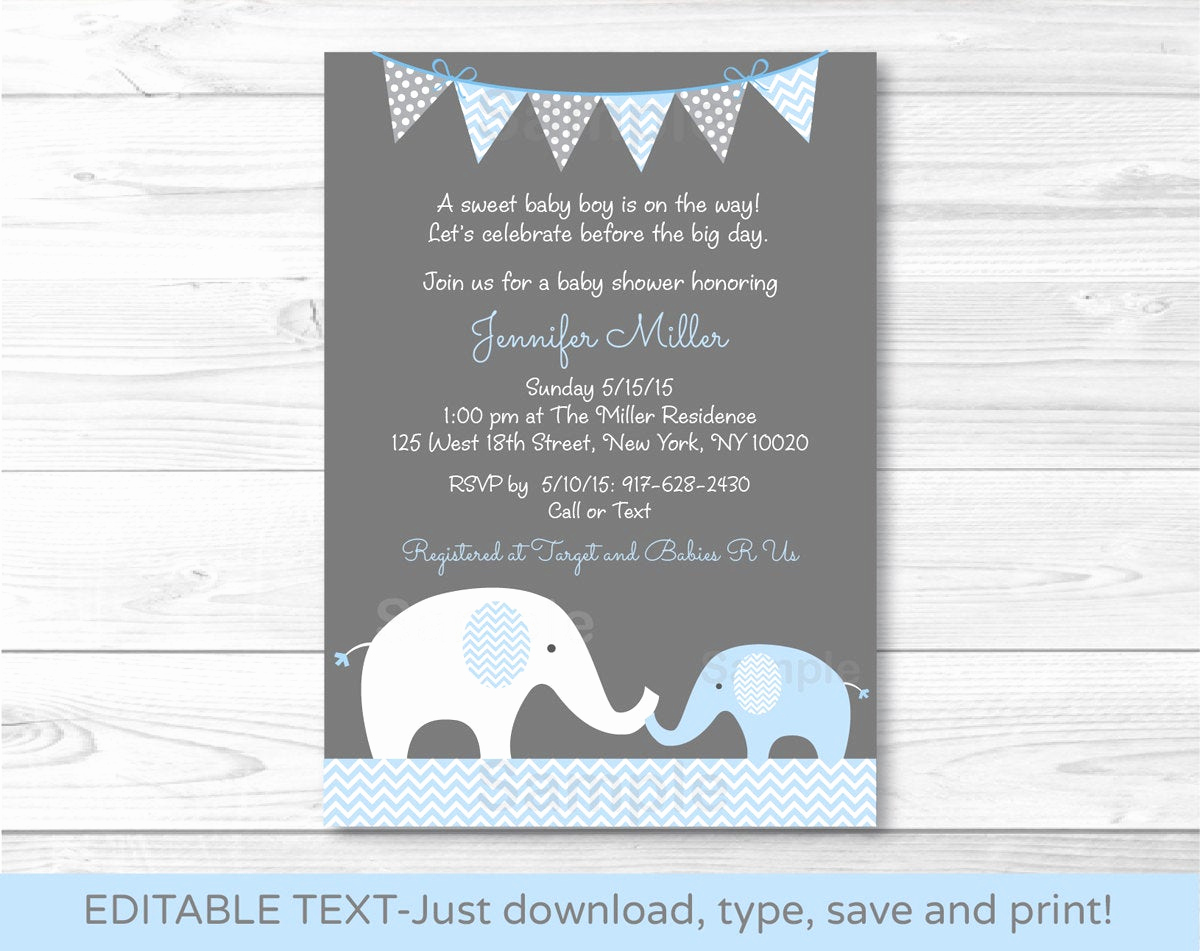 Elephant Baby Shower Invitation Templates Elegant Blue Chevron Elephant Mom & Baby Printable Baby Shower