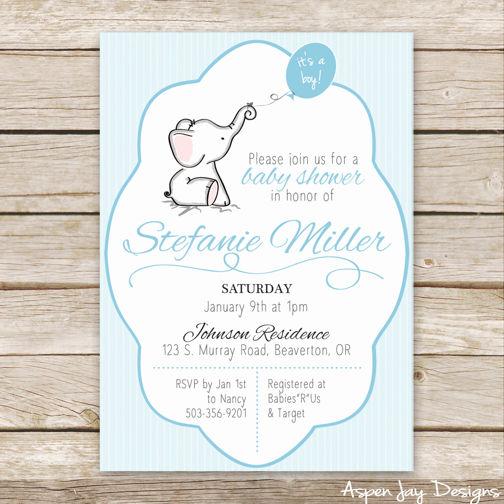 Elephant Baby Shower Invitation Templates Elegant Blue Elephant Baby Shower Invitations Blue Baby by
