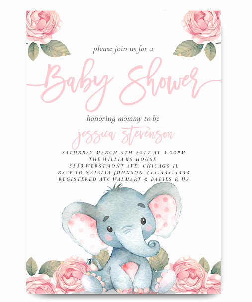 Elephant Baby Shower Invitation Templates Fresh Elephant Baby Shower Invitation Pink Floral Elephant