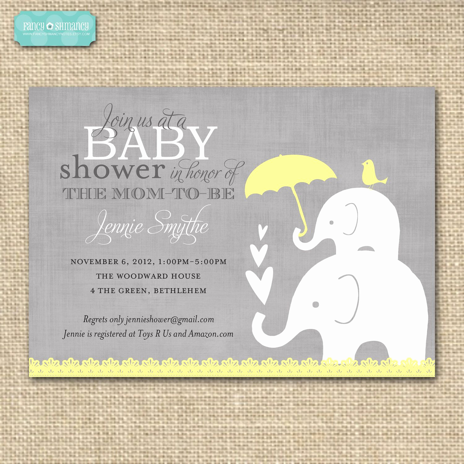 Elephant Baby Shower Invitation Templates Luxury Baby Shower Invitation Elephant Yellow and Grey Printable