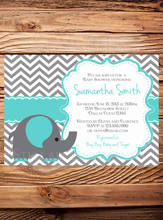 Elephant Baby Shower Invitation Templates Luxury Teal Elephant Baby Shower Invitation Elephant Baby Shower