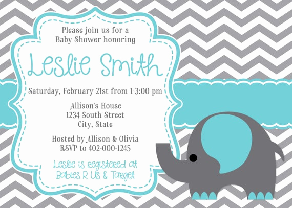 Elephant Baby Shower Invitation Templates New Elephant & Chevron Baby Shower Invitation
