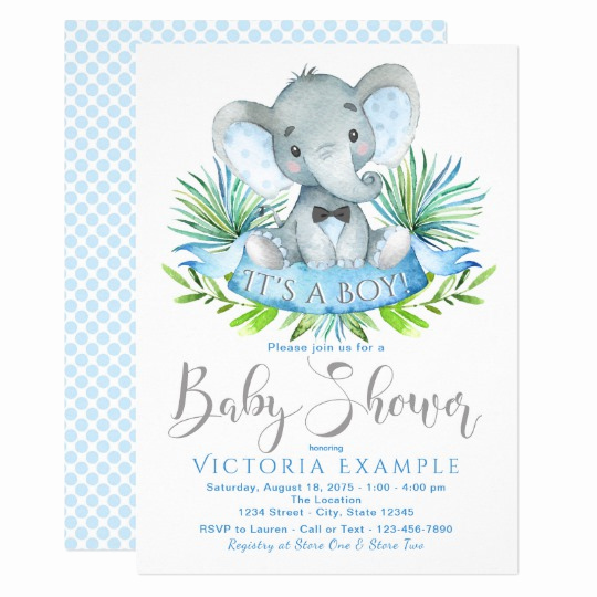 Elephant Baby Shower Invitation Templates Unique Boys Baby Elephant Baby Shower Invitations