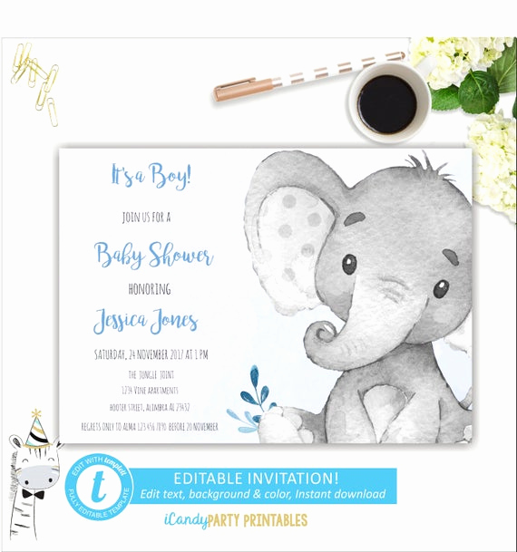 Elephant Baby Shower Invitation Templates Unique Elephant Baby Shower Invitation Floral Invite Safari