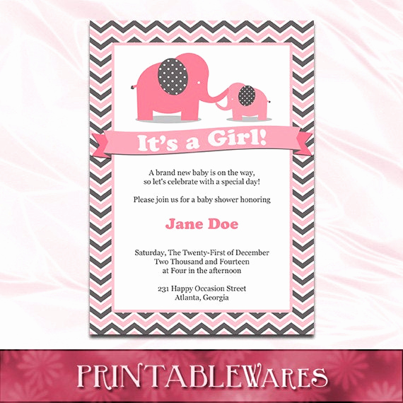 Elephant Baby Shower Invitation Templates Unique Pink Elephant Baby Shower Invitation Template Pink and Gray