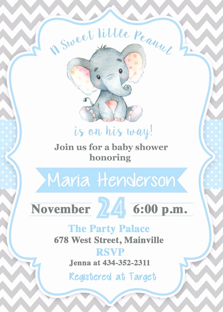 Elephant Baby Shower Invitation Unique Elephant Baby Shower Invitation Boy Elephant Baby