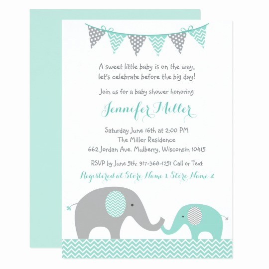 Elephant Baby Shower Invitation Unique Green Chevron Elephant Baby Shower Invitation