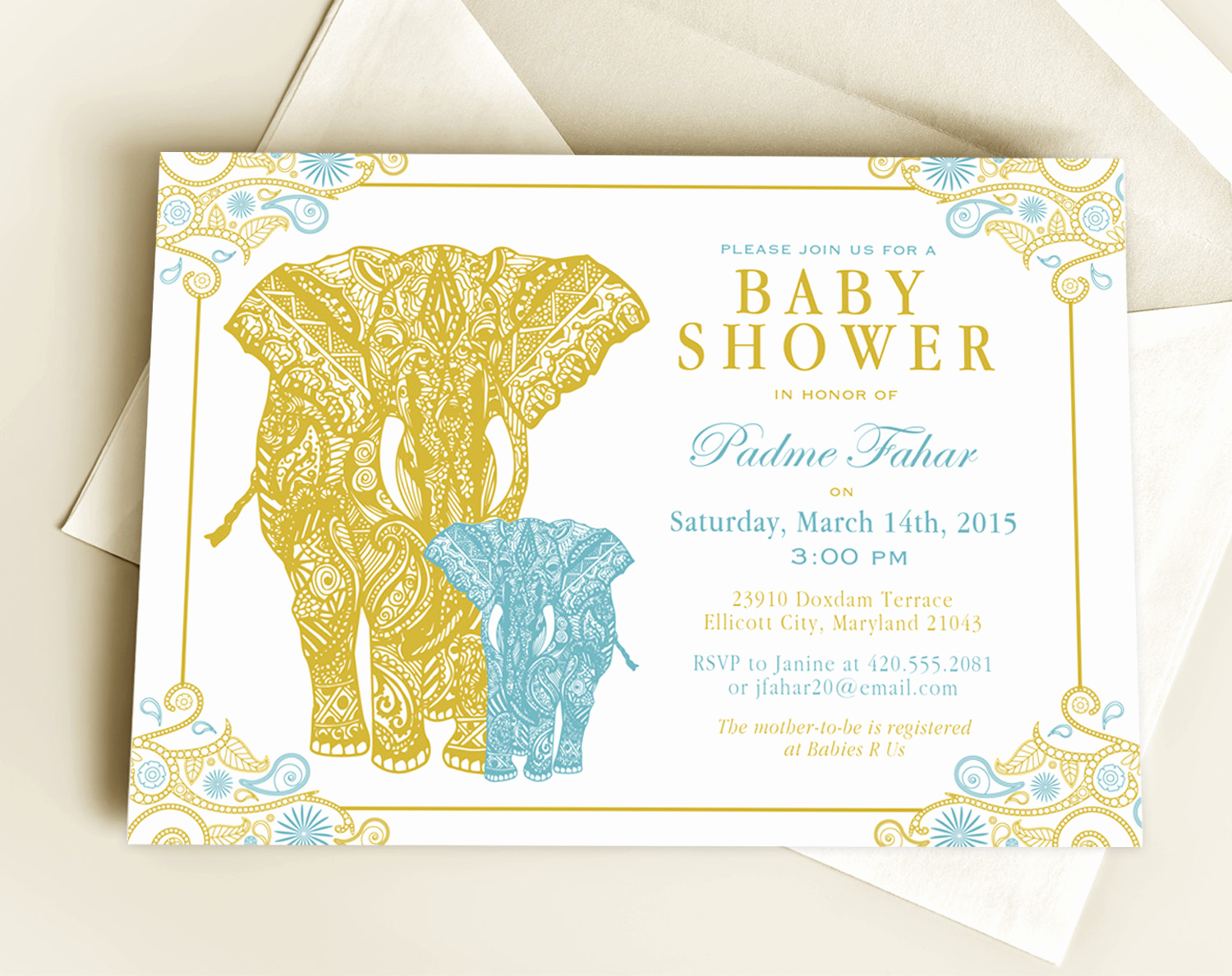 Elephant Baby Shower Invitation Unique Henna Elephant Baby Shower Invitation Design or New Baby