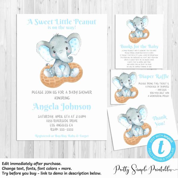 Elephant Invitation Baby Shower Awesome Elephant Baby Shower Invitation Bundle Boy Little