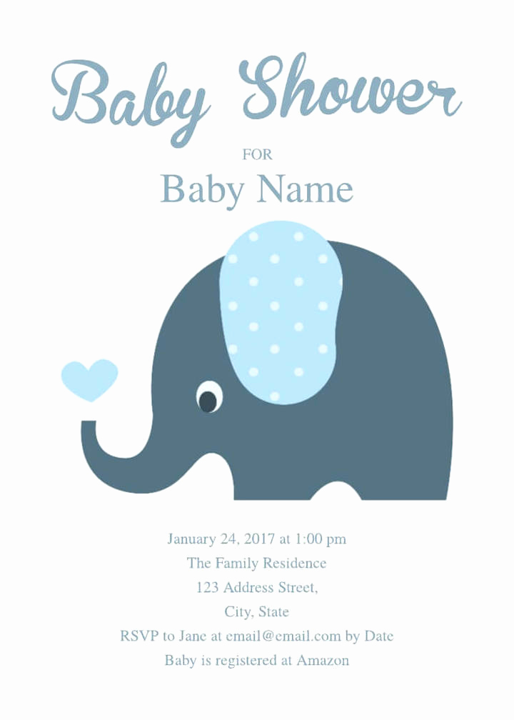 Elephant Invitation Baby Shower Elegant 16 Free Invitation Card Templates & Examples Lucidpress