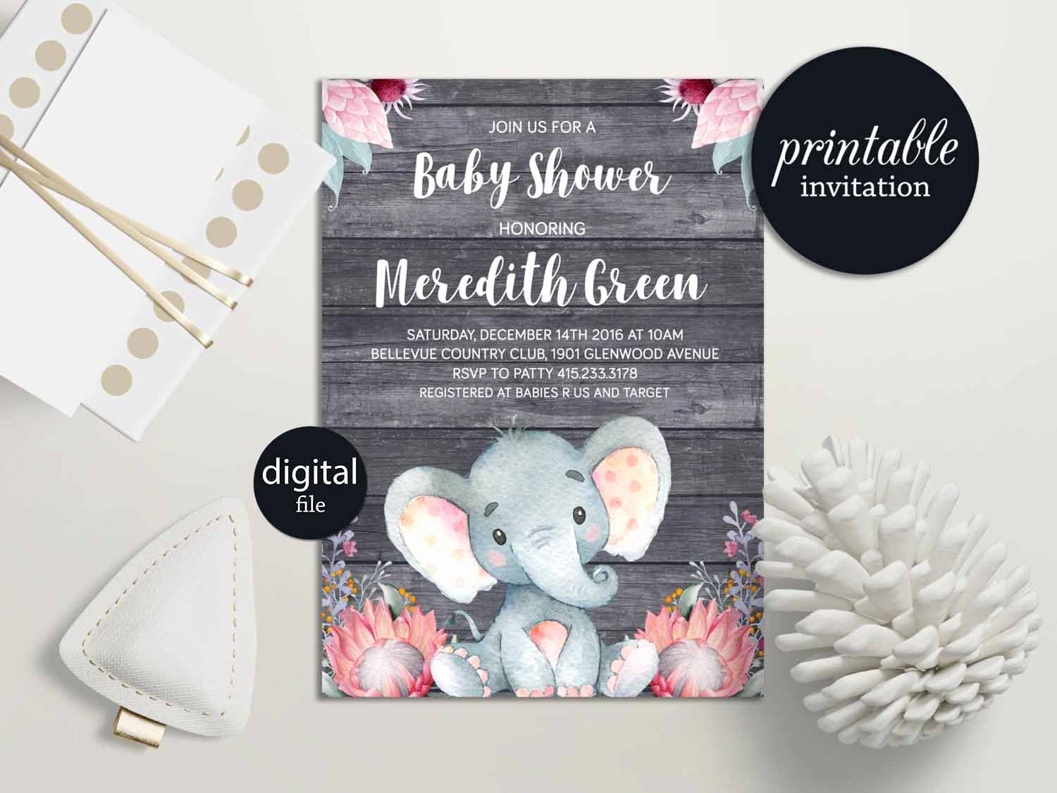 Elephant Invitation Baby Shower Luxury Elephant Baby Shower Invitation Girl Safari Baby Shower