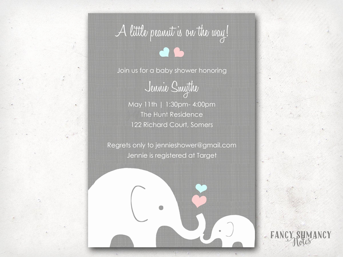 Elephant Invitation Baby Shower Luxury Elephant Baby Shower Invitation Little Peanut Elephant Pink