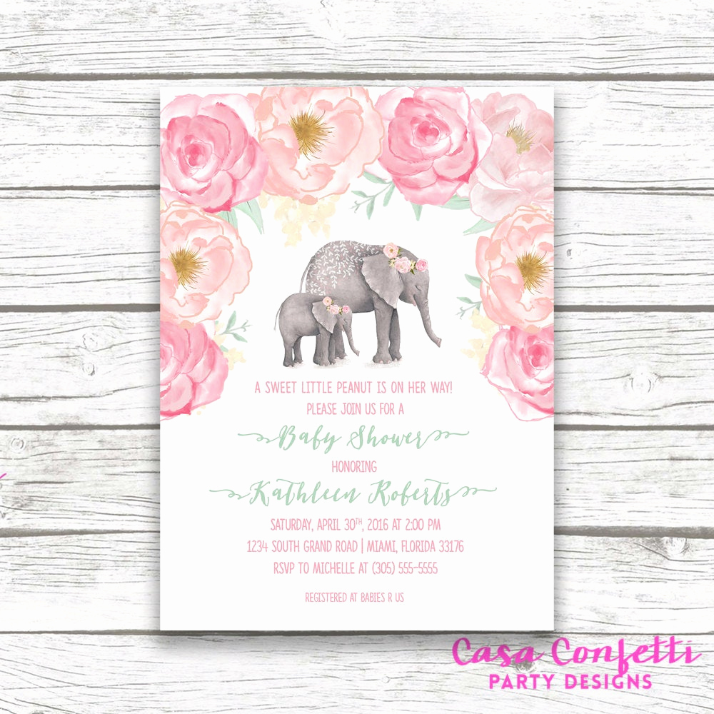 Elephant Invitation Baby Shower Luxury Pink Elephant Baby Shower Invitation Boho Baby Shower Floral