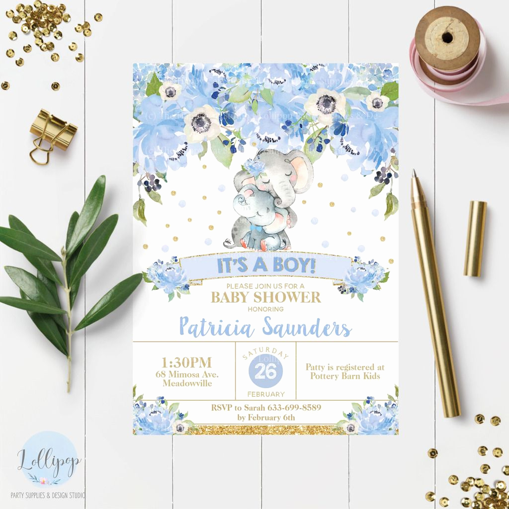 Elephant Invitation Baby Shower New 8x Elephant Baby Shower Invitations Blue Floral Flowers