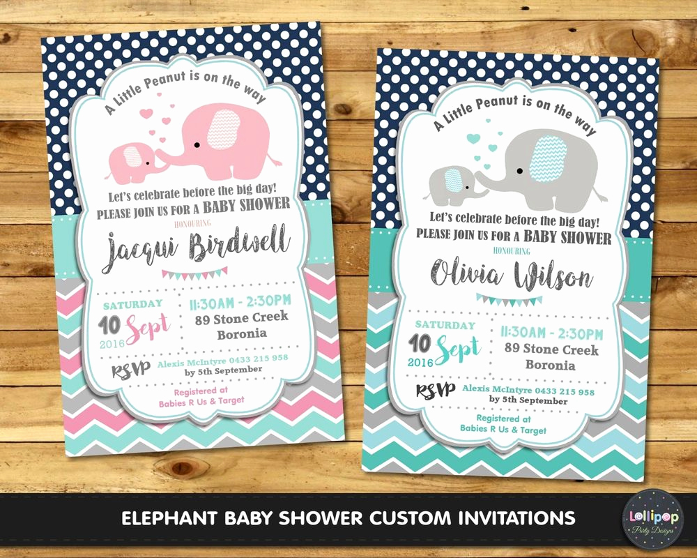 Elephant Invitation Baby Shower New Elephant Baby Shower Party Invitation Invite Personalised