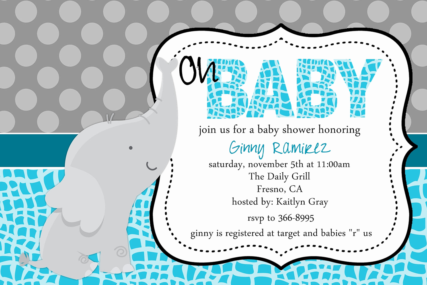 Elephant Invitation Baby Shower Unique Baby Elephant Baby Shower Invitation Blue Pink Purple Little